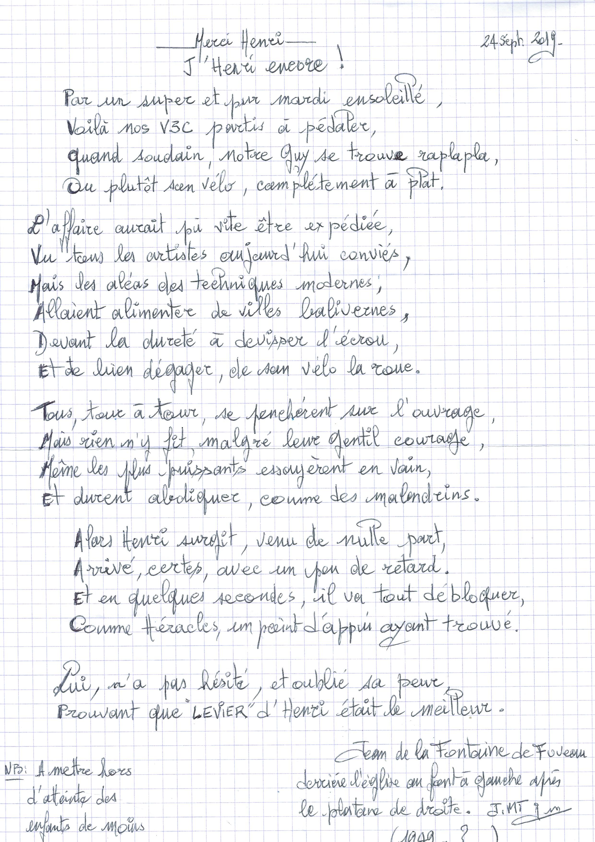 Poème Jean 2019 09 24 Henri